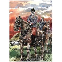Cesarz Franciszek Józef I na koniu. autorski rysunek Andrzeja Zaręby